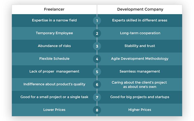 freelacers vs development company