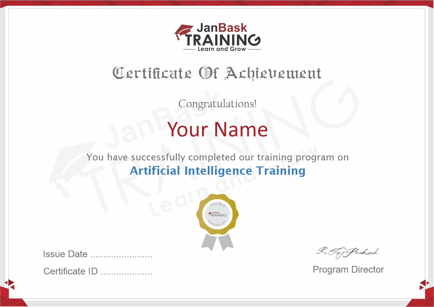 Artificial Intelligence  Certificate